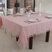 Fransız Güpürlü Tek Masa Örtüsü Pudra 160x220cm Dertsiz Kumaş