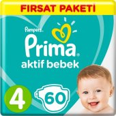 Prima Bebek Bezi Aktif Bebek 4 Beden 60 Adet Maxi ...