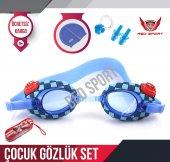 Cars Çocuk Yüzücü Gözlük Set Gözlük + Bone +...
