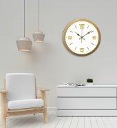 Rikon Metal Dekoratif Ofis Duvar Saati Klasik Gold White 35X35 Cm-2