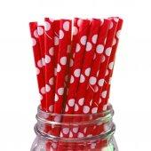 Puantiyeli Kağıt Pipet Kırmızı 20li Partipan