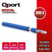 Qport Q Cat6m Cat6 305m Utp 23awg Kablo Mavi