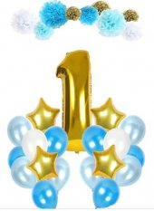 1 Yaş Balon Seti Doğum Günü Gold Mavi Ponponlu Parti Seti