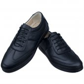 Siyah Ortopedik Diyabetik Bağcıklı Klasik Erkek Ayakkabı