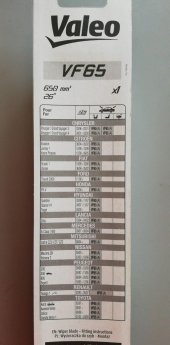 Valeo Silecek Süpürgesi 65cm (X1) Normal Tip (First) (Üniversal)