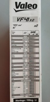 Valeo Silecek Süpürgesi 40cm (X2) Normal Tip (First) (Üniversal)