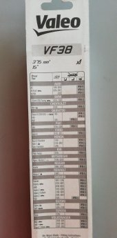 Valeo Silecek Süpürgesi 38cm (X1) Normal Tip (First) (Üniversal)