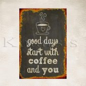 Coffee and You Baskılı Ahşap Poster