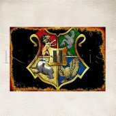 Harry Potter Hogwarts Logo Baskılı Ahşap Poster 1z