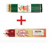 Fatih Kırmızı Kalem 12 Adet + Kurşun Kalem 12 Adet Set