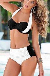 Angelsin Kaplı Siyah Beyaz Şık Tasarımlı Bikini...