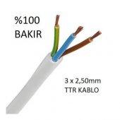 3x2.5 Ttr Topraklı Kablo Tam Bakır Kablo Full Bakır Kablo (20 Metre Satışımız Kargo Bedava