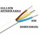 3x2.5 Nym Antigron Topraklı Kablo Tam Bakır Kablo Full Bakır Kablo (5 Metre Kargo Bedava)