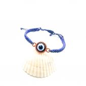 Rose Renk Çerçeveli Nazar Boncuğu Figürlü Mavi Renk Örgülü Asansö