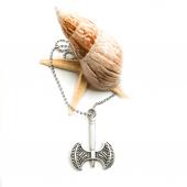 çift Taraflı Balta Figürlü Gümüş Renk Top Zincirli Kolye