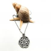 Celtic Sarmalı Figürlü Gümüş Renk Top Zincirli Kolye