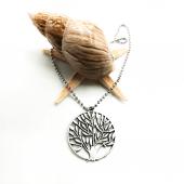 Ağaç Figürlü Gümüş Renk Top Zincirli Kolye