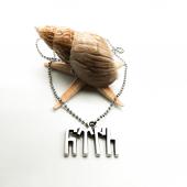 Göktürkçe Türk Yazılı Gümüş Renk Top Zincirli Kolye