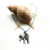 Fil Figürlü Gümüş Renk Top Zincirli Kolye