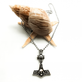 Kuru Kafa Motifli Anahtar Figürlü Gümüş Renk Top Zincirli Kolye