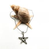 Yıldız Figürlü Gümüş Renk Top Zincirli Kolye