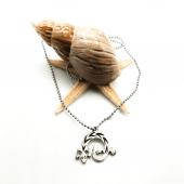 Kertenkele Figürlü Gümüş Renk Top Zincirli Kolye
