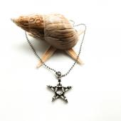 Kuru Kafa İşlemeli Yıldız Figürlü Gümüş Renk Top Zincirli Kolye