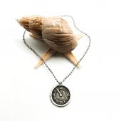 Saat Figürlü Gümüş Renk Top Zincirli Kolye