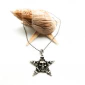 Kuru Kafalı Yıldız Figürlü Gümüş Renk Top Zincirli Kolye