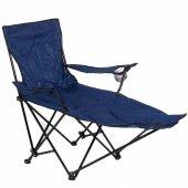 Ayaklıklı Katlanan Kamp Sandalyesi Mavi Kamp Koltuğu