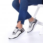 Alnus Kadın Spor Ayakkabı Leopar Desenli, Siyah, Beyaz