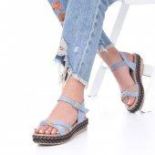 Etra Kadın Sandalet Süet- Hasır, Mavi, Krem, Kırmızı,Pembe,Sarı,Siyah