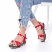 Etra Kadın Sandalet Süet- Hasır, Mavi, Krem, Kırmızı,Pembe,Sarı,Siyah-3