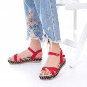 Etra Kadın Sandalet Süet- Hasır, Mavi, Krem, Kırmızı,Pembe,Sarı,Siyah-4