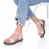 Etra Kadın Sandalet Süet- Hasır, Mavi, Krem, Kırmızı,Pembe,Sarı,Siyah-5