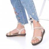 Etra Kadın Sandalet Süet- Hasır, Mavi, Krem, Kırmızı,Pembe,Sarı,Siyah-6