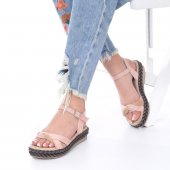 Etra Kadın Sandalet Süet- Hasır, Mavi, Krem, Kırmızı,Pembe,Sarı,Siyah-7