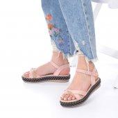 Etra Kadın Sandalet Süet- Hasır, Mavi, Krem, Kırmızı,Pembe,Sarı,Siyah-8