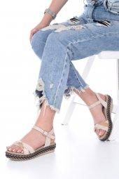 Etra Kadın Sandalet Süet- Hasır, Mavi, Krem, Kırmızı,Pembe,Sarı,Siyah-12