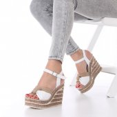 Glory Dolgu Topuklu Ayakkabı Hasır Detaylı, 11cm, Beyaz