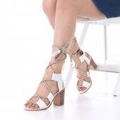 Iris Topuklu Ayakkabı Kalın Topuklu, 9cm, Beyaz