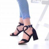 Lucy Topuklu Ayakkabı Süet - 7cm, Kalın Topuklu, Siyah, Krem-2