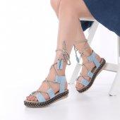 Pentas Kadın Sandalet Süet Siyah, Kırmızı, Krem, Mavi, Pembe