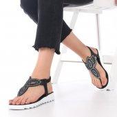 Rea Kadın Sandalet Parmak Arası, Siyah, Platin