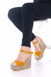 Ladina Dolgu Topuklu Ayakkabı Süet - 11cm, Siyah, Krem, Hardal-9