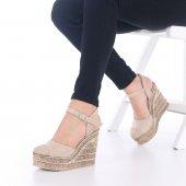 Ladina Dolgu Topuklu Ayakkabı Süet - 11cm, Siyah, Krem, Hardal