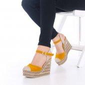 Ladina Dolgu Topuklu Ayakkabı Süet - 11cm, Siyah, Krem, Hardal-3