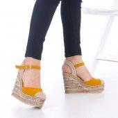 Ladina Dolgu Topuklu Ayakkabı Süet - 11cm, Siyah, Krem, Hardal-4