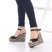 Ladina Dolgu Topuklu Ayakkabı Süet - 11cm, Siyah, Krem, Hardal-6