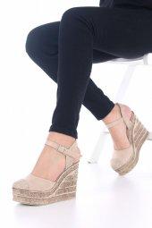 Ladina Dolgu Topuklu Ayakkabı Süet - 11cm, Siyah, Krem, Hardal-7